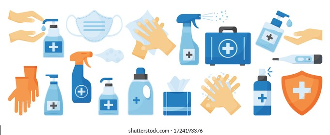 Disinfection. PPE icon. Hand hygiene. Set of hand sanitizer bottles, medical mask, washing gel, spray, wipes, liquid soap, gloves, first aid kit, thermometer. Personal protective equipment. Vector