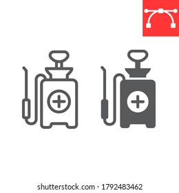 Disinfection pressure sprayer line and glyph icon, hygiene and disinfection, disinfectant canister sign vector graphics, editable stroke linear icon, eps 10