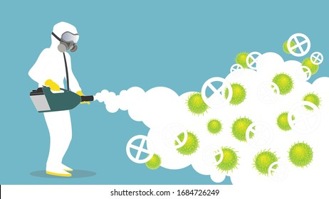 Disinfection service, Cleaning and remediation to curb infection,  All infected materials are cleaned, disinfected. Vector illustration.