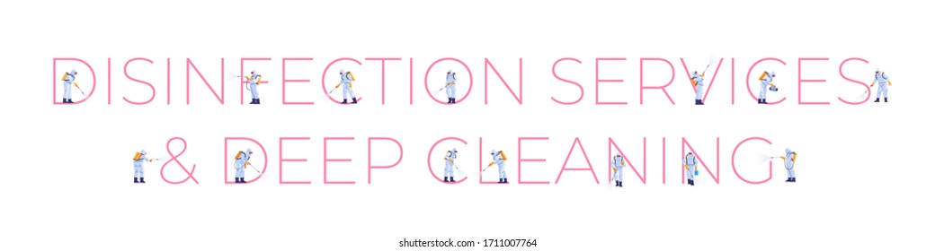 Disinfection Services & Deep Cleaning. Prevention controlling epidemic of coronavirus covid-2019. Cartoon style vector illustration design.