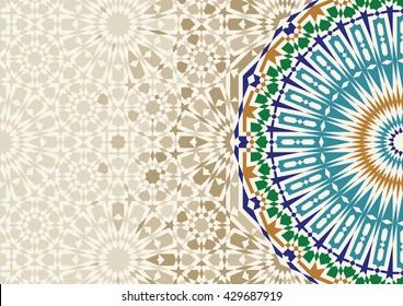 Disintegration Morocco Mosaic Abstract Template.  Arabic Islamic Design background. Green, ocher, blue on beige.