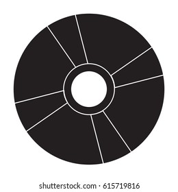 disk icon flat black color