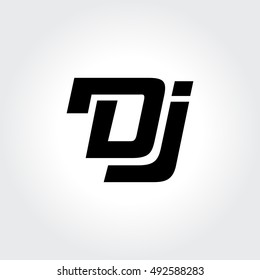 Disk Jockey logo design. Creative typography treatment in black and white