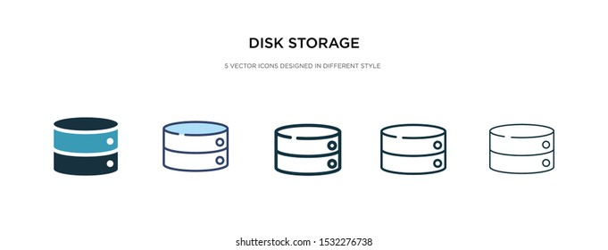 disk storage icon in different style vector illustration. two colored and black disk storage vector icons designed in filled, outline, line and stroke style can be used for web, mobile, ui