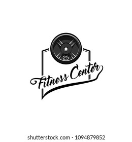 Disk weight barbell. Fitness center logo label. Sport badge. Fitness club emblem. Bodybuilding. Vector illustration.