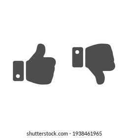 Dislike, Hand Thumb Down. Black symbol on white background. Simple illustration. Flat Vector Icon. Mirror Reflection Shadow. Can be used in logo, web, mobile and UI UX project