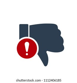 Dislike icon, gestures icon with exclamation mark. Dislike icon and alert, error, alarm, danger symbol. Vector illustration