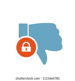 Dislike icon, gestures icon with padlock sign. Dislike icon and security, protection, privacy symbol. Vector illustration