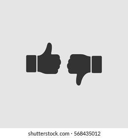 Dislike like icon flat. Black pictogram on grey background. Vector illustration symbol