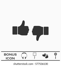 Dislike like icon flat. Black pictogram on white background. Vector illustration symbol and bonus button