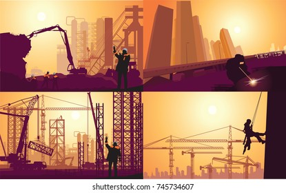 dismantling of industrial buildings. high-rise construction work. Welding works