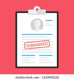 Dismissal. Clipboard and document with dismissed stamp. Flat design. Vector illustration
