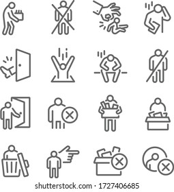 Dismissal icon set vector illustration. Contains such icon as Lay-off, Termination, Unemployment, Jobless, Expulsion, Removal and more. Expanded Stroke