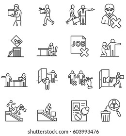 Dismissal from work icons set. Termination of employment, thin line design. Employee departure from a job. isolated symbols collection