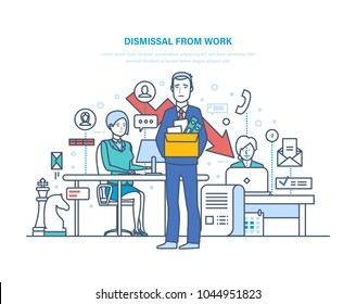 Dismissal from work. Unemployment, crisis, jobless and employee job reduction, job loss, firing concepts. Release of the workplace, recruiting new staff. Vector illustration thin line design.