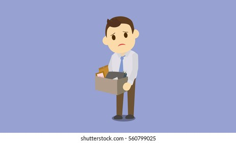 Dismissed businessman holding box with laptop,picture frame,document,sad,get fired and dismissal concept. from job cartoon character vector illustration.