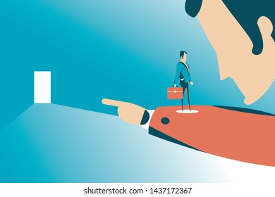 Dismissed frustrated business man carrying bag. Angry boss firing employee. Unemployment, crisis, jobless and employee job reduction concept vector design.