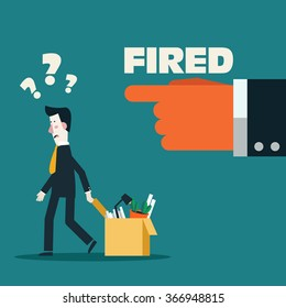 Dismissed frustrated business man carrying box with her things. Angry boss firing employee. Unemployment, crisis, jobless and employee job reduction concept vector design.