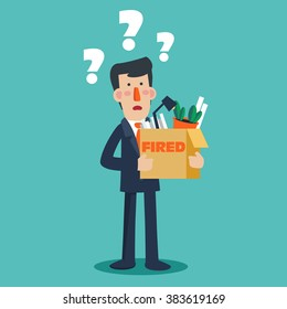 """Dismissed frustrated business man holding a box with his things with inscription """" Fired"""".  Unemployment, crisis, jobless and employee job reduction concept vector design"""