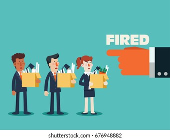 Dismissed frustrated business person holding a box with his things. Angry boss firing employee. Unemployment, crisis, jobless and employee job reduction concept vector design