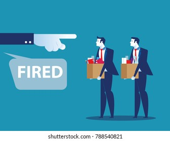 Dismissed person. Unemployment crisis and job reduction. Concept business vector illustration.