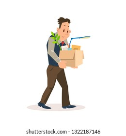 Dismissed Sad Man Carry Carton Box with Belongings. Upset Employee Fired for Bad Work at Office. Unemployment Problem. Jobless Depressed Character. Flat Vector Cartoon Illustration