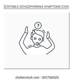 Disorganized behavior line icon.Behaviors appear bizarre.Strange actions. Aggression outbursts.Schizophrenia symptoms concept. Isolated vector illustration.Editable stroke