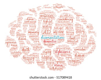 Disorientation Brain word cloud on a white background.