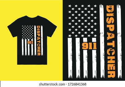 Dispatcher 911 text with american flag vector art for t shirt