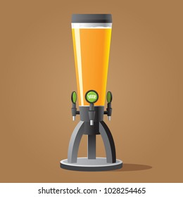 Dispenser beer with tap. Beer tower with tap. Color vector illustracion.