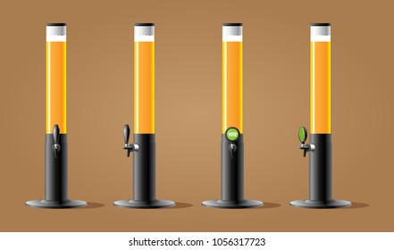 Dispenser beer with tap. Beer tower long with tap. Color vector illustracion.