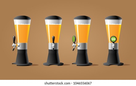 Dispenser beer with tap. Beer wide tower with tap. Color vector illustracion.
