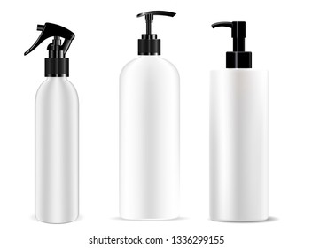 Dispenser Bottle Pump and Spray Set. Cosmetic Mockup of Plastic Container Variations for Lotion, Moisturizer, Deodorant, Water. 3d jar for Foam, Shower. Realistic Packaging.