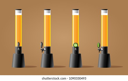 Dispenser form frustum beer with tap. Beer tower form frustum long with tap. Color vector illustracion.