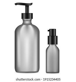 Dispenser pump bottle. Black glass gel or soap container mockup. Isolated serum spray bottle 3d mockup, perfume. Liquid hand sanitize disinfectant packaging template. Shower wash