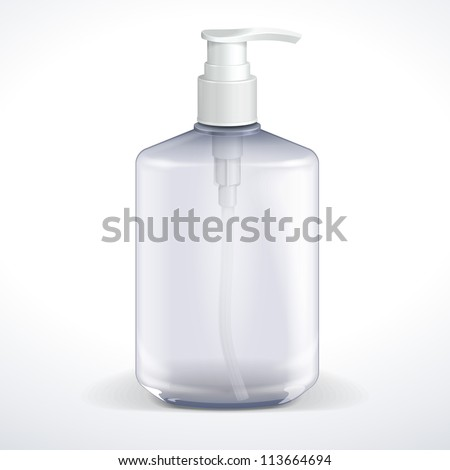 Dispenser Pump Cosmetic Or Hygiene Grayscale, Glass Bottle Of Gel, Liquid Soap, Lotion, Cream, Shampoo. Vector EPS10