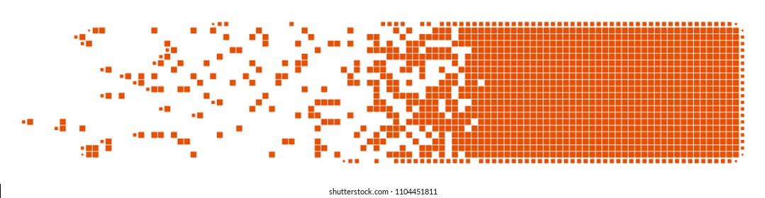 Dispersed building brick dot vector icon with disintegration effect. Square pixels are arranged into dissipated building brick shape.
