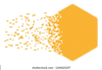 Dispersed filled hexagon dot vector icon with disintegration effect. Square pieces are organized into dispersed filled hexagon shape.