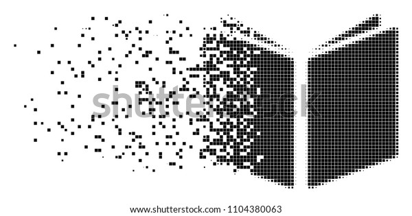 Dispersed open book dotted vector icon with disintegration effect. Square items are grouped into dispersed open book form. Pixel dissipating effect shows speed and motion of cyberspace abstractions.