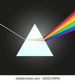 Dispersion of white light to the visible spectrum at the glass prism - vector illustration.