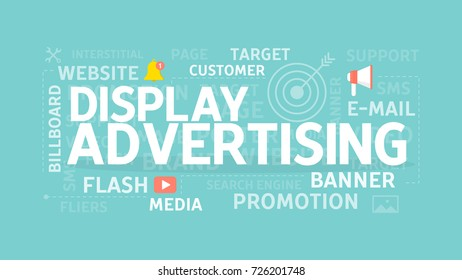 Display advertising concept illustration. Idea of billboard, banner and target.