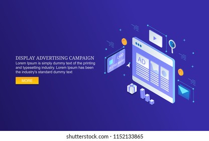 Display advertising, digital media marketing, digital content display flat 3D isometric design banner