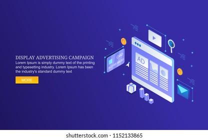 Display advertising, digital media marketing, digital content display flat 3D isometric design banner