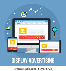 Display advertising through digital devices flat design vector illustration with icons
