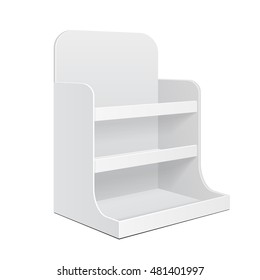 Display Cardboard Counter Shelf Holder Box POS POI Blank Empty. Mockup, Mock Up, Template. Products On White Background Isolated. Ready For Your Design. Mockup Product Packing. Vector EPS10