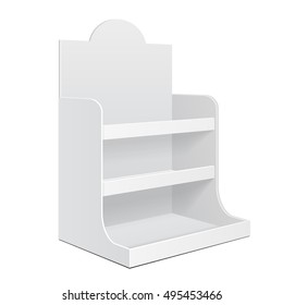 Display Cardboard Counter Shelf Holder Box POS POI Blank Empty. Mockup, Mock Up, Template. On White Background Isolated. Ready For Your Design. Mockup Product Advertising. Vector EPS10