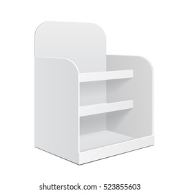 Display Cardboard Counter Shelf Holder Box POS POI Blank Empty. Mockup, Mock Up, Template. Illustration Isolated On White Background. Ready For Your Design. Product Advertising. Vector EPS10
