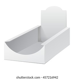 Display Holder Box POS POI Cardboard Blank Empty. Mockup, Mock Up, Template. Products On White Background Isolated. Ready For Your Design. Mockup Product Packing. Vector EPS10