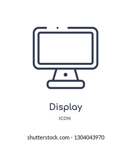 display icon from user interface outline collection. Thin line display icon isolated on white background.