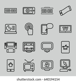 Display icons set. set of 16 display outline icons such as board, poker on phone, heartbeat, tv, touchscreen, tv, digital clock